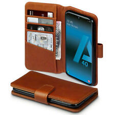 Quality Real Leather Wallet Case for Samsung Galaxy A40 - Cognac