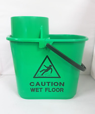 Green 15L Professional Mop Bucket Handle with Wringer Caution Wet Floor Sign