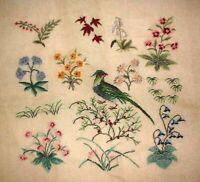 MZC 5061 Vintage Preworked Woodland Bird & Flowers Needlepoint Petitpoint Canvas
