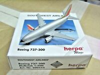 "Herpa Wings 1:500 500555 SWA Southwest Airlines B737-300 ""Silver"" Aircraft Model"
