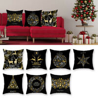 Christmas Pillow Case Glitter Peach Skin Sofa Throw Cushion Cover Home Decor UK