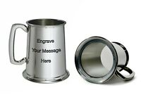 NEW Personalised 1 Pint Glass Base Polished Pewter Tankard Any Message Engraved