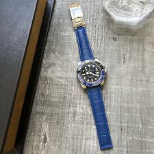 Cuero Azul Correa de Reloj 20mm Para Rolex Daytona Submarinista Gmt Datejust