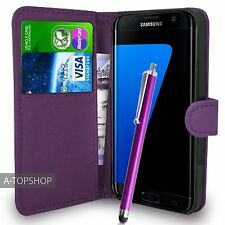 Purple Wallet Case PU Leather Book Cover For Samsung Galaxy S7 Edge G935 Mobile
