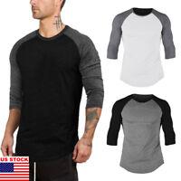 USA New Men 3/4 Sleeve Plain T-Shirt Lot Baseball Running Tee Sports Tops Blouse