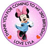 """30x Personalised Mini Mouse Round 50mm 2"""" party Stickers,Party Thank You Seals"""