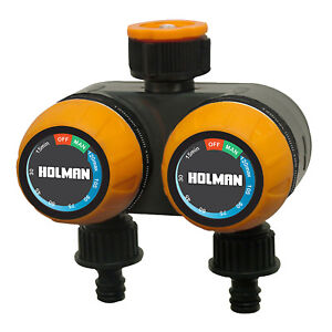Holman 2 Hour Dual Outlet Tap Timer 2 Independently timed outlets Manual automat