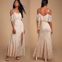 NEW Lulu's Caterina Blush Lace Off-the-Shoulder Maxi Dress Size XL Retail $90