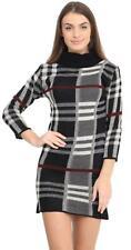 Ladies Polo Neck Long Sleeve Tartan Check Knit Bodycon Jumper Midi Dress 8-22