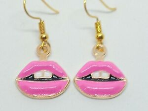 New Pink Lips & Teeth Charm Earrings Quirky Kitsch Novelty Retro Valentine Gift