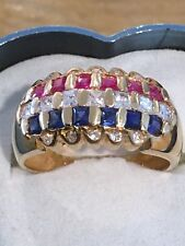 18K Yellow Gold Multi Color Stone Band Ring