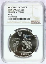 1974 Canada Montreal Olympics Athlete & Torch Silver $5 Coin NGC MS 67 - KM# 90