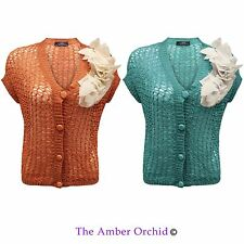 Polyester Short Sleeve Button Jumpers & Cardigans for Women