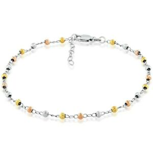 Tri-color Sterling Silver Diamond-cut Bead Anklet