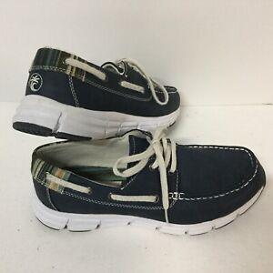 MARGARITAVILLE Mens CABO Sz 8M Navy Blue Lace Up Canvas Loafer Boat Shoes D1