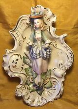 "Vtg 12"" CORDEY Porcelain Pottery Figurine Wall Sconce Statue: Woman w Bustle/Hat"