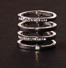 Trendy Tono Argento Bianco Strass arrugginite quadruplicare anello metallico (CL24)