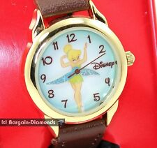 Disney Tinkerbell ladies teen licensed gold tone watch collector box brown strap