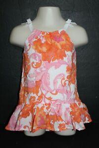 Janie And Jack Rio Glow Pink Orange Floral Sundress Sleeveless Size 6-12 Months