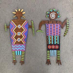 PAIR Bill & Marcia Finks SIGNED Aboriginal Primitive Outsider Metal Art Figures