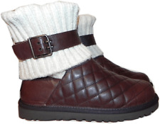 Ugg Australia Cambridge Boot Brown  Quilted Leather Bootie 5-36 Sweater Sale