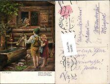 564585,tolle AK Märchen Paul Wagner Hänsel und Gretel Hexe Brunnen