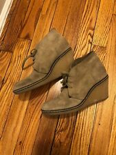J Crew Tan Suede Macalister Wedge Lace Ankle Boot Gum Sole Heel Womens Size 7 M