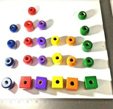 Colorful Wood Beads Necklace Kids Craft Vintage 24 pieces 6 Colors