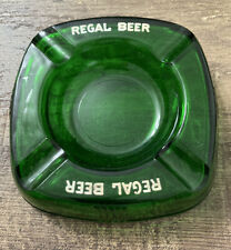 Vintage Regal Beer Green Glass Ashtray