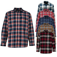 Mens Flannel Shirt Lumberjack Check Heavy Cotton Soft Brushed Shirts Long Sleeve