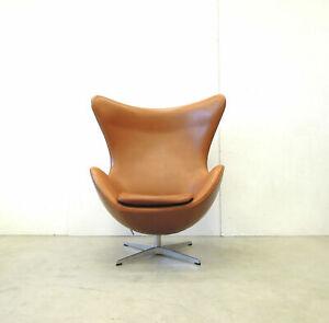 ARNE Jacobsen EGG Chair fauteuil COGNAC Elegance Leder cuir  FRITZ Hansen