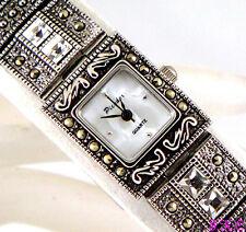 Silver Deco Vintage Genu Marcasite Statement Bracelet Watch w/ Swarovski Crystal