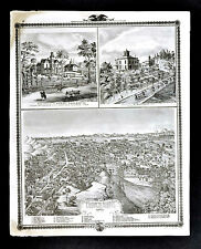 1875 Iowa Map - Council Bluffs Bird's Eye View - Pottawattamie County City View
