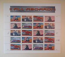 Scott #3333-37 ALL ABOARD US Stamps full sheet, 20x33c, MNH, 1999, USPS