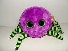 NWT TY Beanie Boos CRAWLY Purple Spider Halloween Plush Green Sparkly Eyes NEW