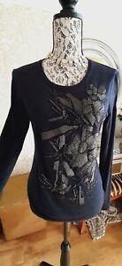 Luisa Cerano grey long sleve bead embellished top size UK10