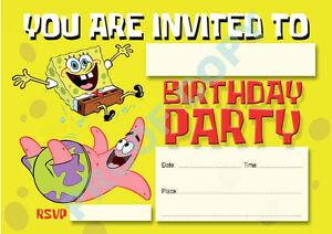 #11 SPONGEBOB SQUAREPANTS Pack of 10 kids children birthday party INVITATIONS