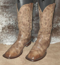 Lucchese wide square toe boots burndish finish Brown 10D cowboy western ?Y7738