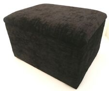 Footstool With Storage In Black Chenille Fabric