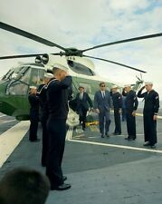 President John F. Kennedy arrives by helicopter on USS Oriskany New 8x10 Photo