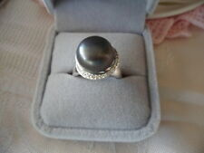 Antique Art Deco Vintage Large Genuine Black Pearl Sterling Silver Ring size 8 Q