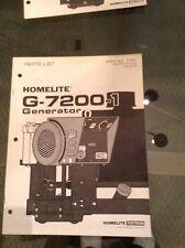Homelite G-7200-1 Parts List-1 Generator Parts List Part No. 17377