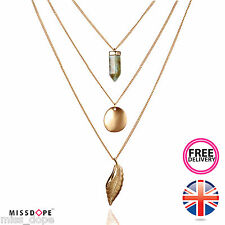 NEW Gold Multilayer Chain Vintage Leaf Natural Stone Necklace Womens Ladies UK