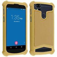 Coque étui antichocs silicone/cuir beige pour smartphone Wiko  Harry