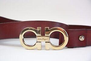 Salvatore Ferragamo Large Double Gancio Logo Buckle Belt Size 36-38
