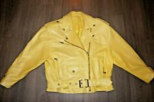 jacket leather biker style butter soft acid yellow 12 /14