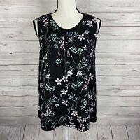 Vince Camuto Womens Sleeveless Blouse Size Medium Black Floral