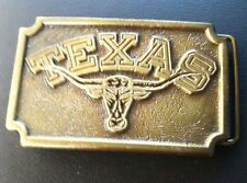 Rare Vintage SOLID Brass Belt Buckle TEXAS LONG HORN by Koleaco 1975 Limited Ed.