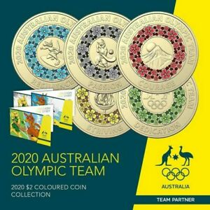 Australian $2 Tokyo 2020 Olympic Team 5 Coloured Coins UNC Set in Folder NEW