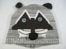 Raccoon D&Y Gray Black S/M Size Beanie Cap Hat Great Condition